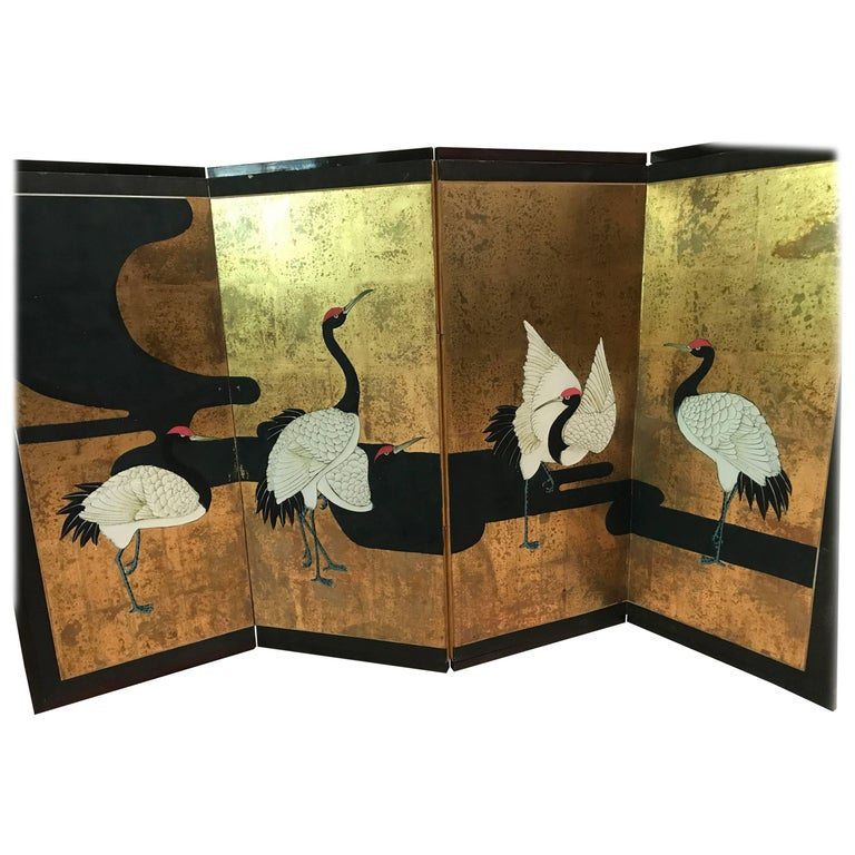 Japanese Hand-Painted Screen Four-Panel with Cranes, 1920s