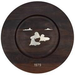 Danish Midcentury Rosewood Wall Platter by Robert Dalgas Lassen, Silver Inlays