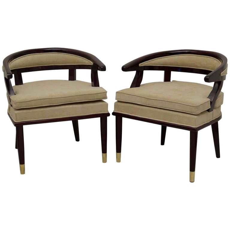 Pair of 1920 Wood and Brass Italian Art Deco Armchairs