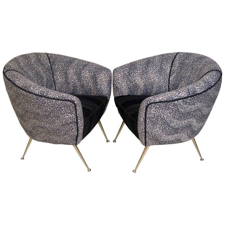 Pair of 1950 Round Velvet and Brass Midcentury Armchairs