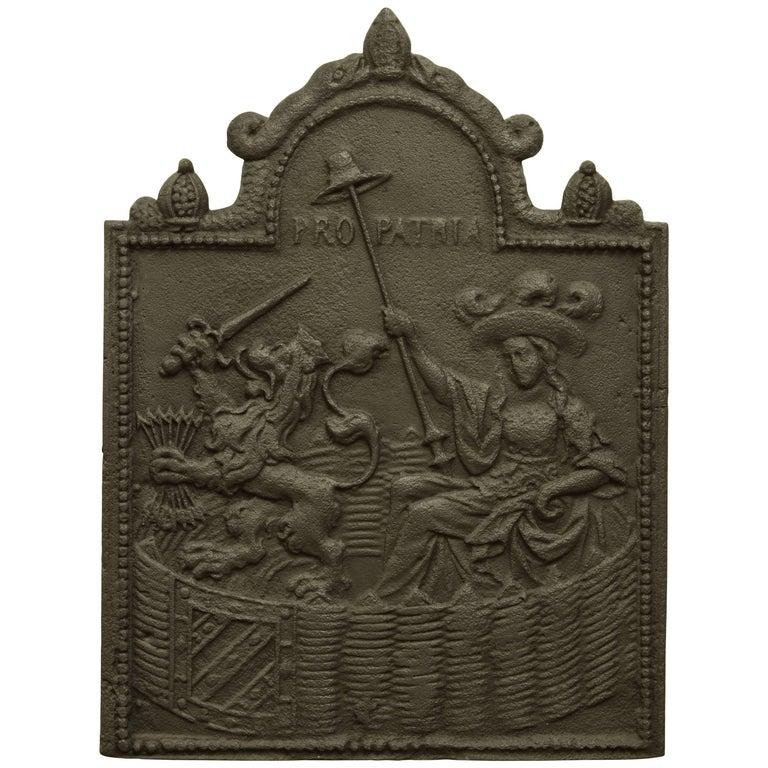 "Antique ""Pro Patria"" Fireback, 19th Century"
