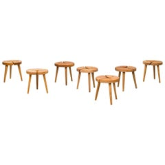 Set of Seven Low Stools with Beautiful Details, Probably Produced in Sweden