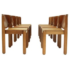 Model 122 Dining Chair with Leather Seat by Vico Magistretti for Cassina, 1960s