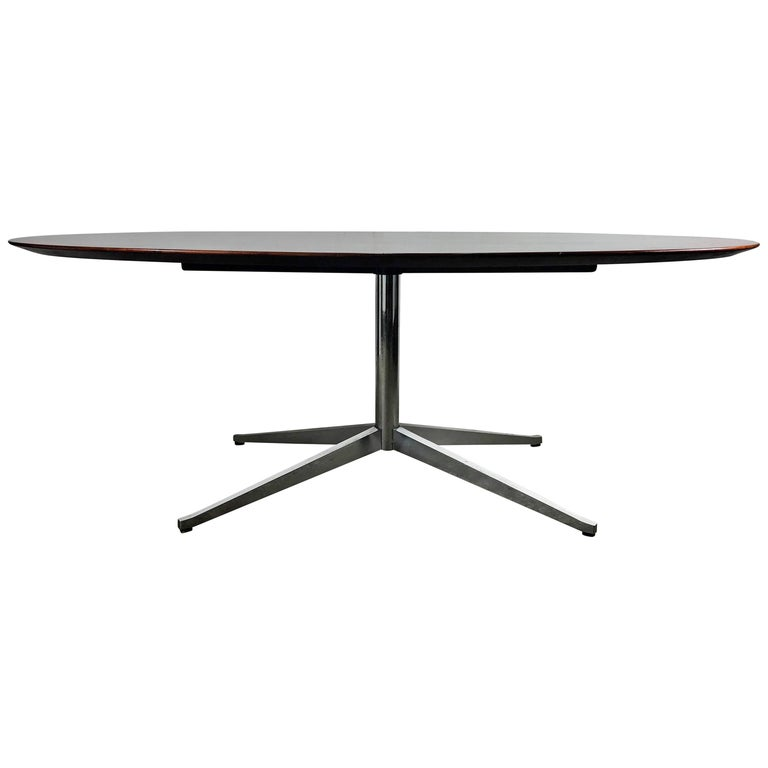 Florence Knoll Conference or Dining Table, Rosewood Top for Knoll