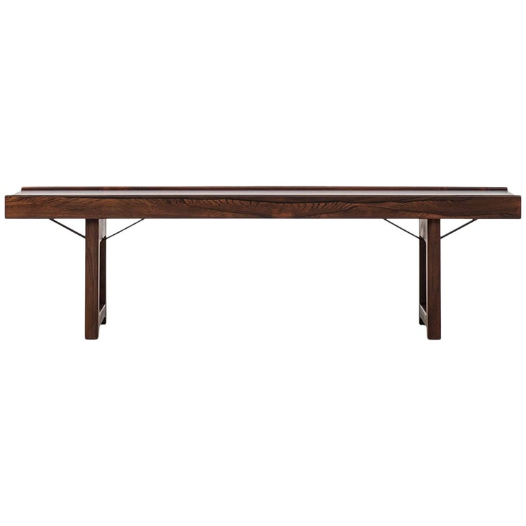 Torbjørn Afdal Krobo Bench / Side Table in Rosewood Produced in Norway
