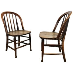 Pair of Early Oak Antique Industrial Side Chairs by Heywood Wakefield