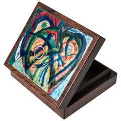 Alfred Klitgaard Handcrafted Box in Rosewood and Enamel by Alfred Klitgaard