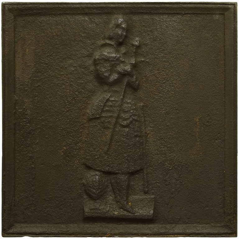 Antique Square Fireback, Beautiful Jeanne d'Arc