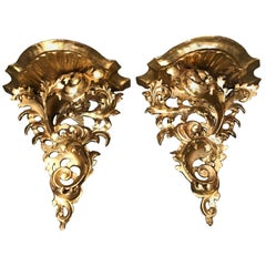 Pair of 19th Century Italian Giltwood Wall Brackets