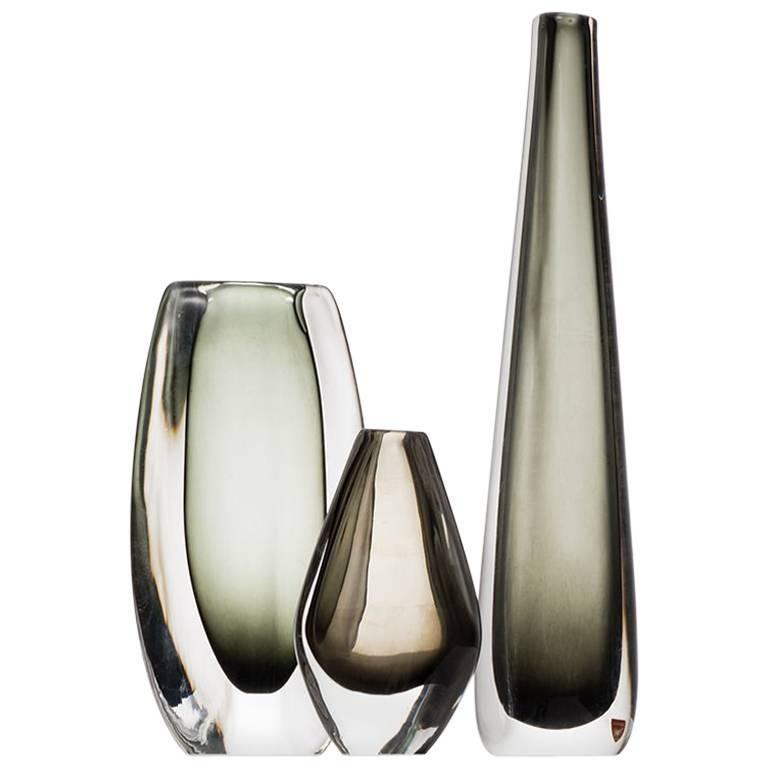Nils Landberg Glass Vase Model Sommerso By Orrefors In Sweden For