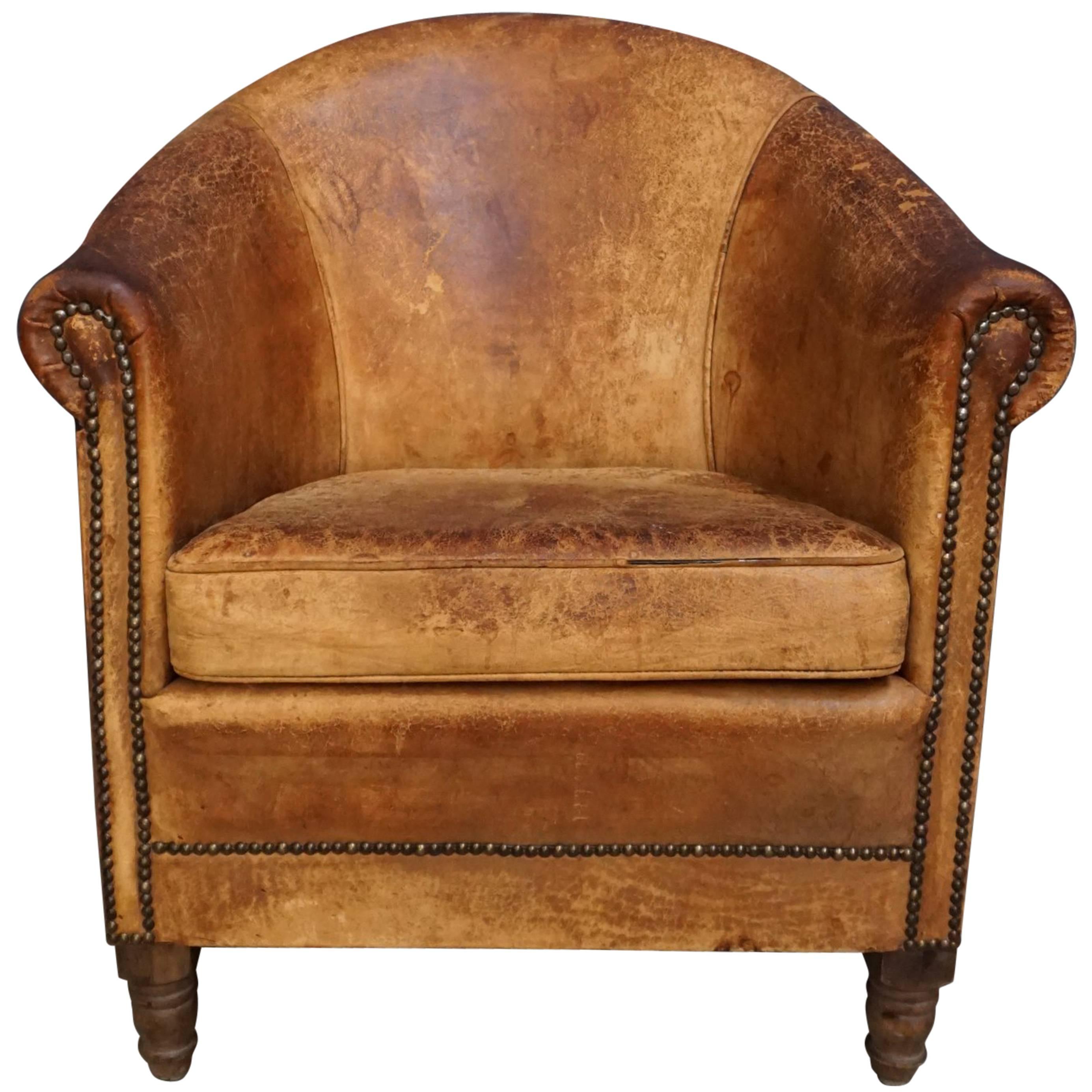 Dutch Vintage Cognac Colored Leather Club Chair