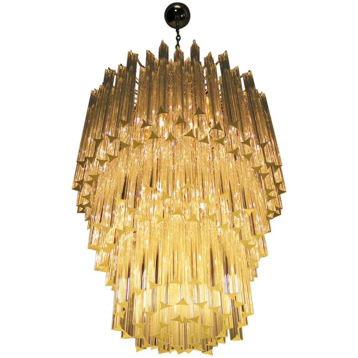 Huge Murano Chandelier Transparent Triedri, 184 Prism, Arianna Model