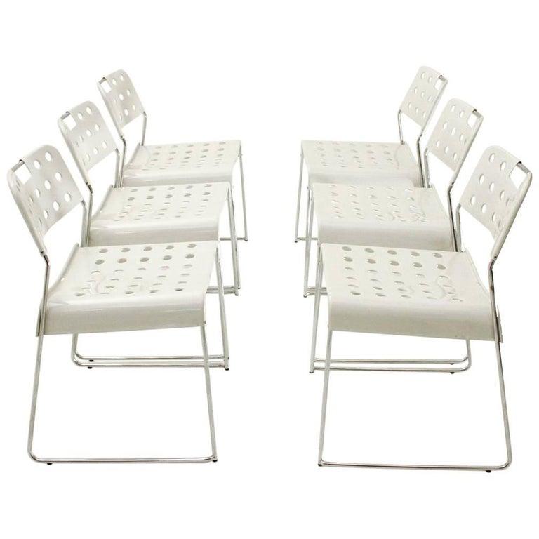 Six White Omstak Chairs by Rodney Kinsman for Bieffeplast, 1970s