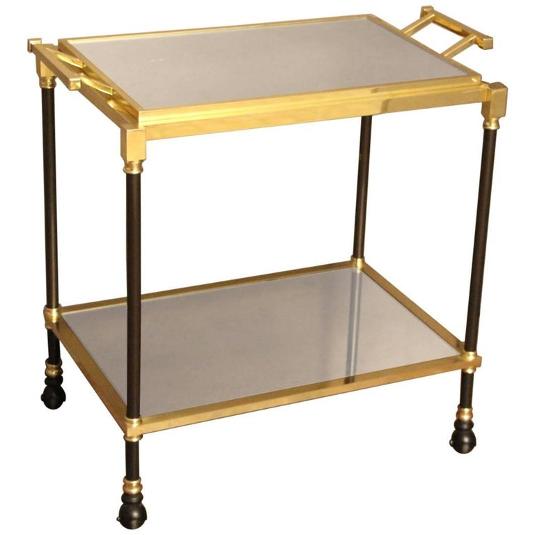 Brass and Mirror Italian Serving Bar Cart with Removable Tray