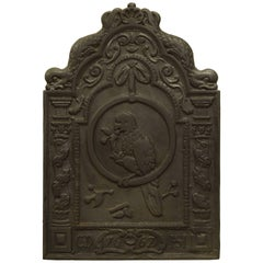 Antique Fireback Showing a Parrot in a Ring, 19th Century