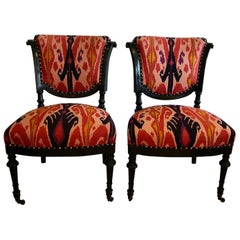 Chic Pair of French Side Chairs in Eye Popping Ikat