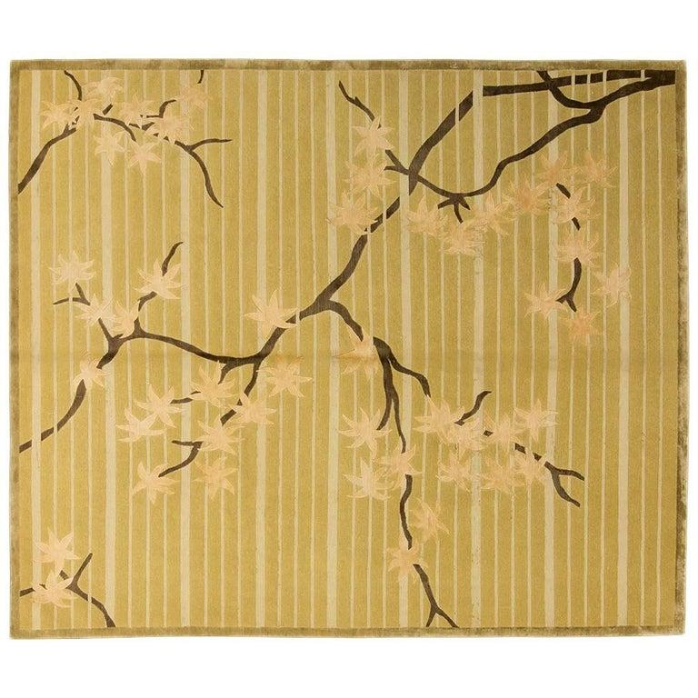 After Frank Lloyd Wright Leaf Maple Silk and Wool Rug