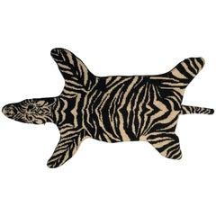 Artisan Crafted Needlepoint Zebra Rug