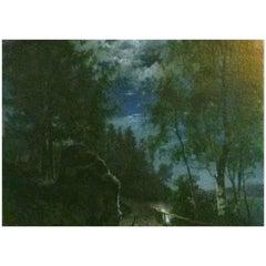 Gustaf Ankarcrona Midsummer River Landscape Painting Oil on Canvas, 1869-1935