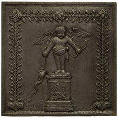 Antique Square Fireback, Cupid with Bow and Torch, 19th Century