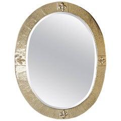 Arts & Crafts Beaten Brass Bevelled Mirror