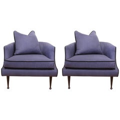Hollywood Regency Club Chairs in Blue Linen with Ebonized Legs