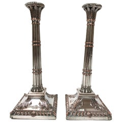 Pair of 18th Century Irish Silver-Plate Candlesticks