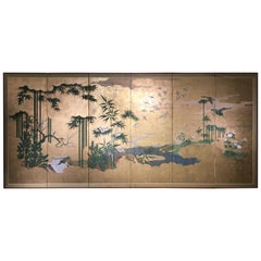 Japanese Six-Panel Screen, Sparrows and the Three Friends of Winter, circa 1800
