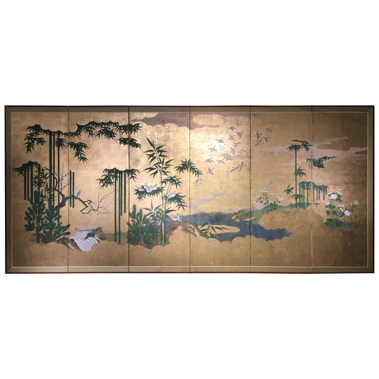 Japanese Six-Panel Screen, Sparrows and the Three Friends of Winter, circa 1800 For Sale