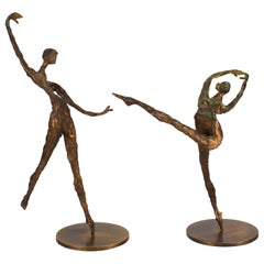 Modern Expressionist Bronze Sculptures of a Pair of Dancers, Signed