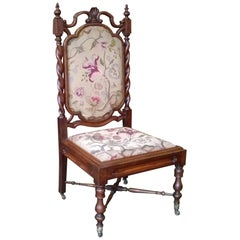 Gothic Revival Solid Rosewood Nursing Chair