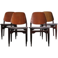 1950 Italian Rosewood and Teak Midcentury Dining Chairs by F.Lli Proserpio