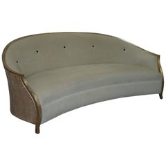 Christopher Guy Suede Leather Upholstery Curved Sofa Gold Leaf Paint
