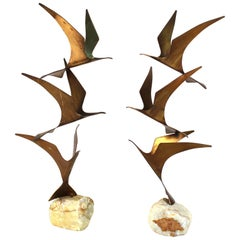 Curtis Jere Mid-Century Modern Brass Seagull Sculptures on Onyx Bases