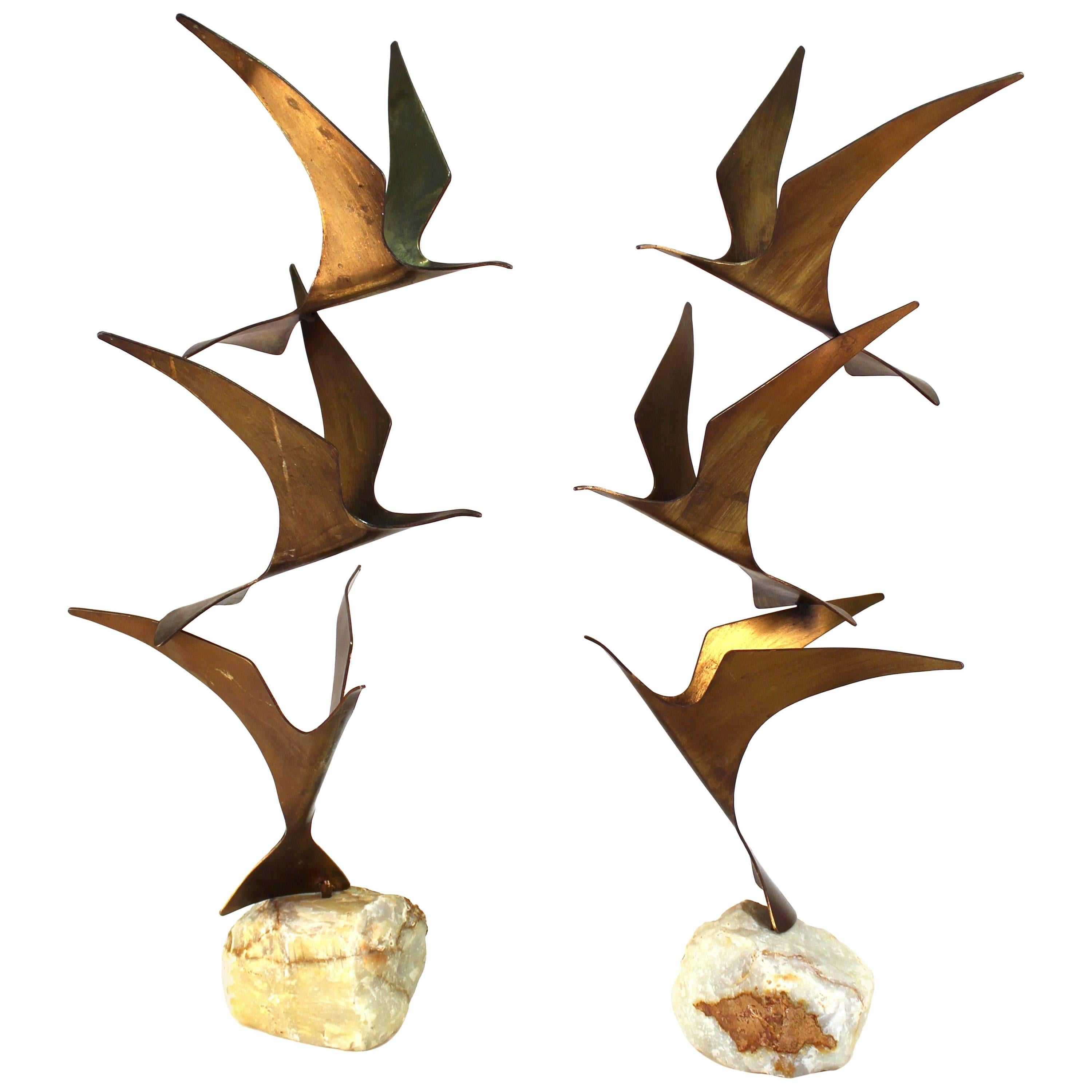 Curtis Jere Mid Century Modern Brass Seagull Sculptures On Onyx Bases For  Sale