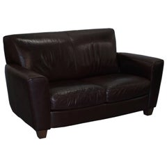 Ntuzzi Handmade in Italy Brown Heritage Leather Two Seater Sofa Comfortable