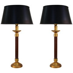 Mid-Century Modern Wood Column and Greek Key Table Lamps with Black Shades