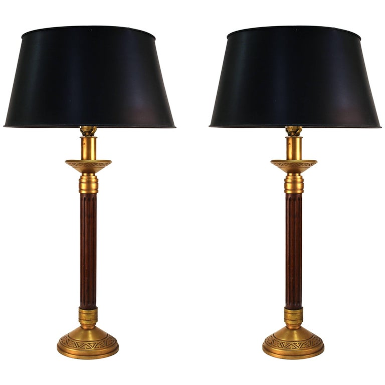 Mid Century Modern Wood Column And Greek Key Table Lamps With Black