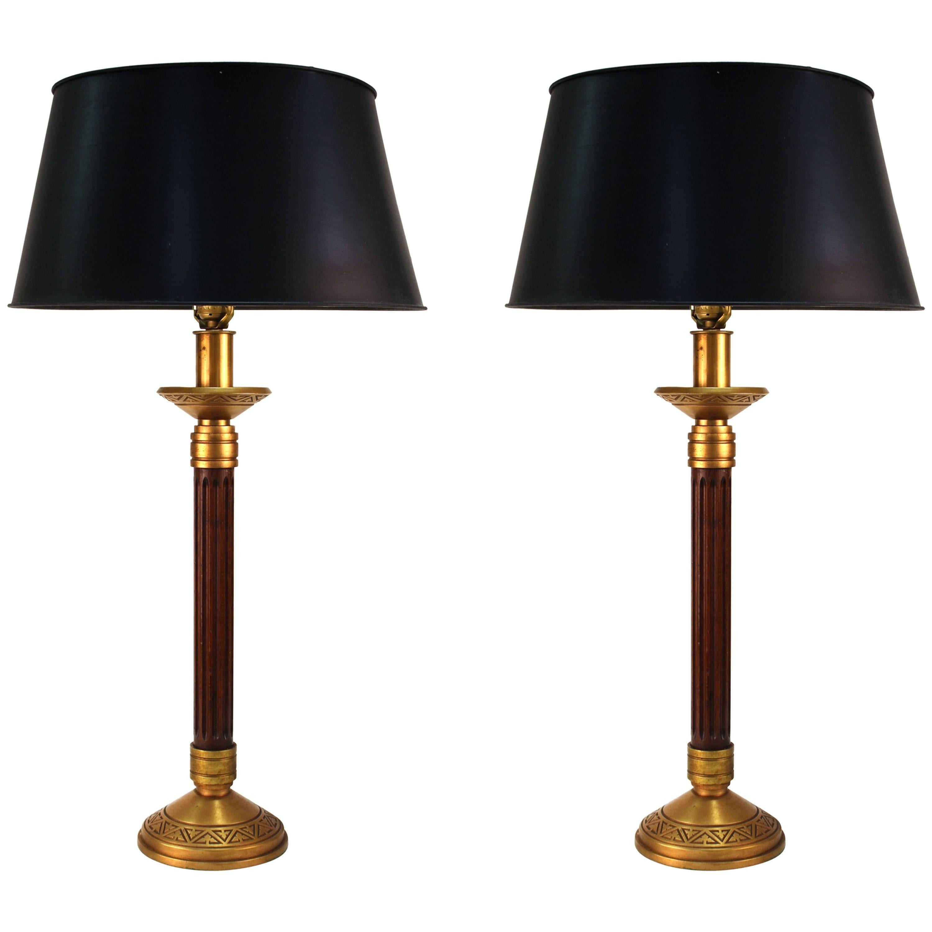 Mid Century Modern Wood Column And Greek Key Table Lamps With Black Shades  For Sale