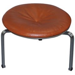 Rare Fritz Hansen 1983 Fully Stamped Danish Leather Poul Kjaerholm PK-33 Stool