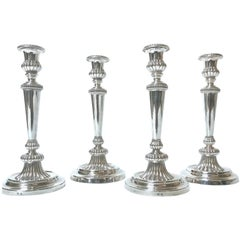 Set of Four Late George III Michael Bolton Plated Silver Canclesticks