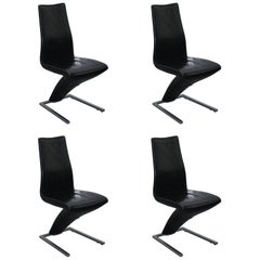 Set of Four Black Leather Rolf Benz 7800 Dining Chairs Iconic Design