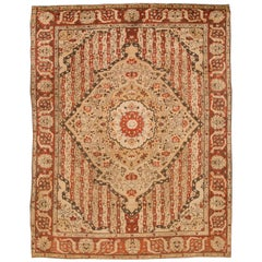 Antique 1900s Beige Medallion Amritsar Rug