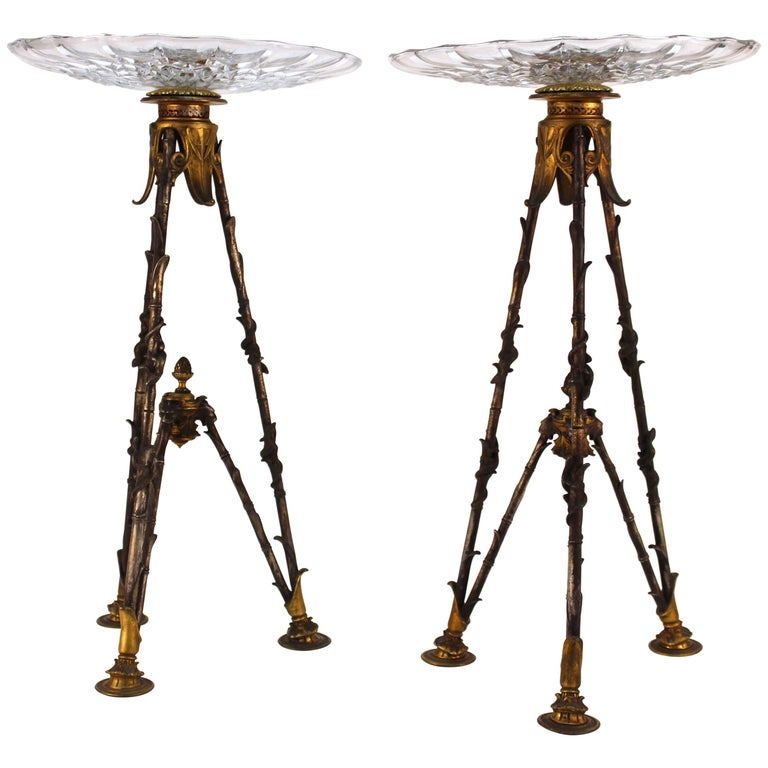 French Victorian Pastry Holders on Tripod Bronze Base and Val St. Lambert Glass
