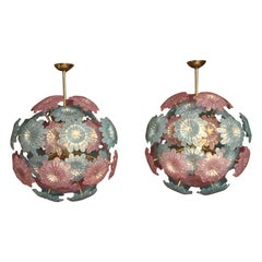 Pair of Sputnik Chandelier with Murano Glass Blue and Pink Flowers