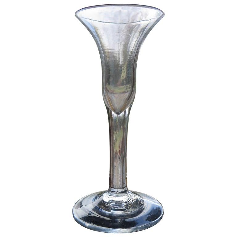 George II, Handblown Tall Wine Drinking Glass, Bell Bowl, English, circa 1740