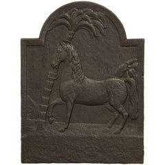 Antique Fireback, Beautiful Horse with Palm Tree