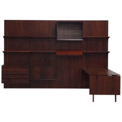Exclusive Mahogany Modular Wall Unit by Poul Cadovius for Cado, 1950s