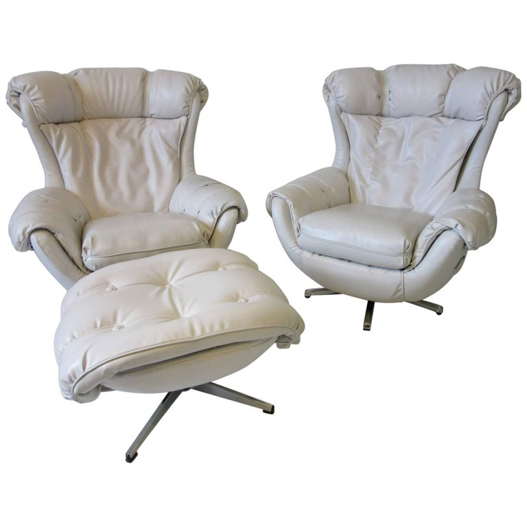 1970s Lounge Chairs with Ottoman