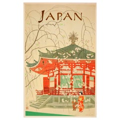 Original Vintage Japan Travel Poster for Rokakudo Temple Kyoto - Cherry Blossoms